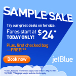 JetBlue $24 Flights Sample Sale: Today Only!