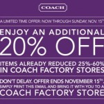 Extra 20% Off @ Coach Factory Stores