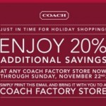 Coach Factory Stores: Extra 20% Off