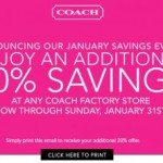 Coach Factory Stores: Extra 20% Off Coupon