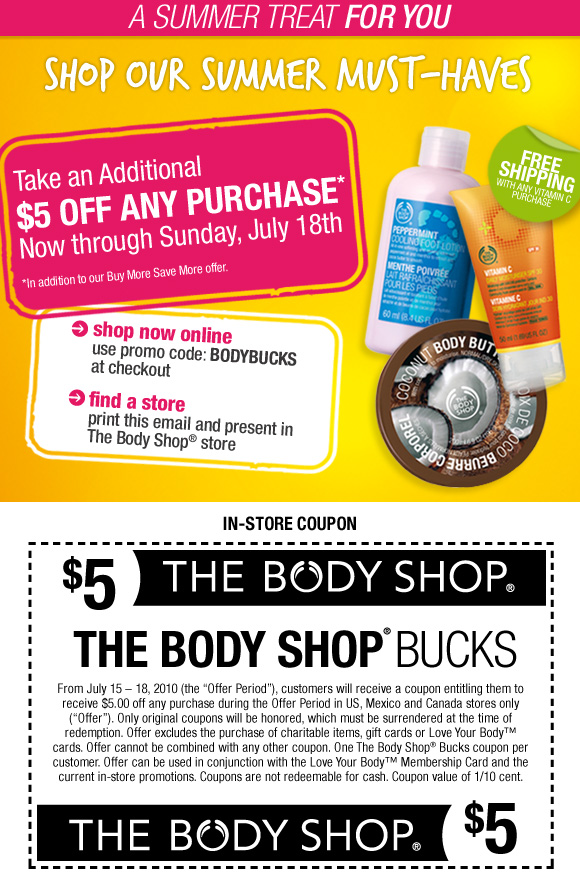 coupons for the body shop
