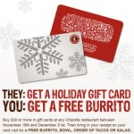 Free Chipotle Burrito w/$30 Gift Card Purchase