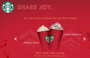 Starbucks Buy One Get One Free!